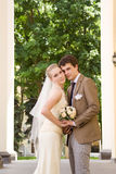 Newly-married couple. Wedding portrait of a newly-married couple Royalty Free Stock Images