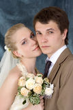 Newly-married couple. Wedding portrait of a newly-married couple Stock Image