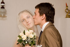 Newly-married couple. Wedding portrait of a newly-married couple. The groom kisses the bride Stock Photography