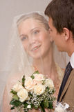 Newly-married couple. Wedding portrait of a newly-married couple Royalty Free Stock Photo