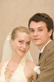 Newly-married couple. Wedding portrait of a newly-married couple Royalty Free Stock Image