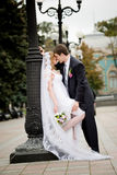 The newly-married couple. On the image there is bride and bridegroom.They are kissing royalty free stock images
