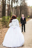 Newly married couple in autumn park Royalty Free Stock Photo