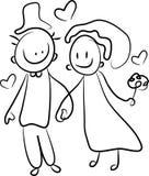 Newly married couple. Brush stroke cartoon image Royalty Free Stock Image