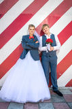 Newly married couple changed clothes and having fun Royalty Free Stock Images