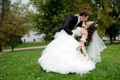 Newly married couple dancing in field Stock Photography