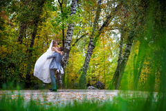 Newly married couple dancing in field. Stock Images