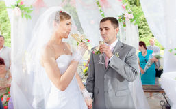 Newly married couple drinking champagne in alcove Stock Photo