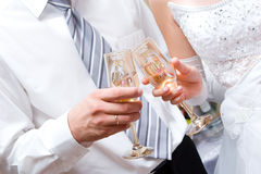 Newly-married couple with glasses Stock Photo