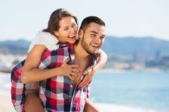 Newly married couple having homeymoon. At tropical beach Royalty Free Stock Photos