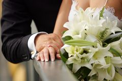 Newly Married Couple Holding Hands. A half body portrait of a newly married couple seen here holding hands. The bride is wearing a traditional white wedding Royalty Free Stock Photos