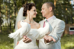 Newly married couple. Horizontal  photo,  happy newly married couple with two white  pigeon, smile Stock Photo