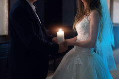Newly married couple in hotel room, romance wedding night. Newly married couple in hotel room, romance wedding night Stock Image