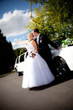 Newly married couple hugging against white limousine Stock Images