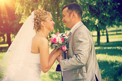 Newly married couple keep for hands instagram stile Stock Images