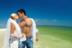 Newly-married couple kissing. Romantic newly-married couple kissing on beach Royalty Free Stock Photo