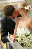 Newly Married Couple Kissing. Portrait of a newly married couple kissing on a bridge Stock Photos