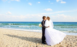 Newly married couple kissing on the beach. Royalty Free Stock Photo