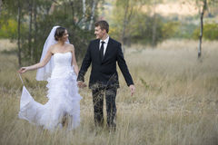 Newly married couple in natural outdoor environment Royalty Free Stock Photography