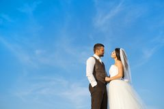 Newly married couple portrait with blue sky Stock Images