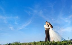 Newly married couple portrait with blue sky Stock Photos