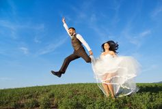 Newly married couple portrait with blue sky Stock Photo