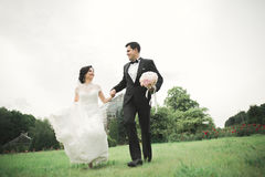 Newly married couple running and jumping in park while holding hands Royalty Free Stock Image