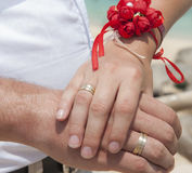 Newly married couple showing off their wedding rings Stock Image
