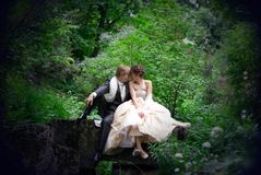 The newly married couple sitting on the rock in th Royalty Free Stock Images