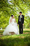 Newly married couple standing on lawn in park Stock Photo