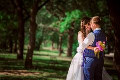 The newly married couple standing at park Royalty Free Stock Photography