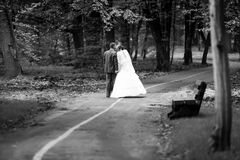 Newly married couple walking in park Stock Images