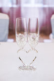 Newly married couples glasses Royalty Free Stock Images