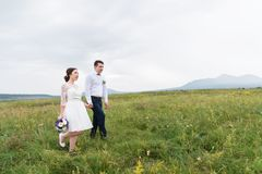 Newly married go on hands on a green field stock photography