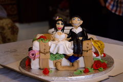 Newly-married. Handmade wedding cake  in a fun tone Stock Photography