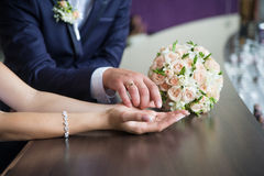 Newly married holding hands Royalty Free Stock Photo