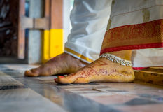A newly married Indian couple stepping into their home Royalty Free Stock Images