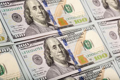 Newly minted 100 bills background royalty free stock photos