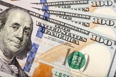 Newly minted 100 bills stock image