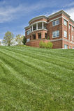 Newly Mowed Lawn In Front of Public Building Royalty Free Stock Photo