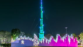 Newly opened Dubai Glow Garden day to night timelapse is a state of Art architecture featuring environment friendly. Burj khalifa model. Newly opened Dubai Glow stock video footage
