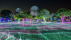 Newly opened Dubai Glow Garden day to night timelapse is a state of Art architecture featuring environment friendly. Grass with palm trees. Newly opened Dubai stock footage