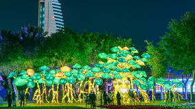 Newly opened Dubai Glow Garden day to night timelapse is a state of Art architecture featuring environment friendly. Green smiling tree. Newly opened Dubai Glow stock video footage