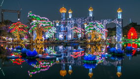 Newly opened Dubai Glow Garden day to night timelapse is a state of Art architecture featuring environment friendly. Lake with flowers and castle. Newly opened stock footage