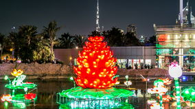 Newly opened Dubai Glow Garden day to night timelapse is a state of Art architecture featuring environment friendly. Lake with red flower and burj khalifa behind stock video footage