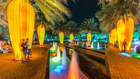 Newly opened Dubai Glow Garden day to night timelapse is a state of Art architecture featuring environment friendly. Orange carrot palm trees. Newly opened Dubai stock video footage