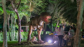 Newly opened Dubai Glow Garden day to night timelapse is a state of Art architecture featuring environment friendly. Raptor tiranosaurs dinosaurs. Newly opened stock video