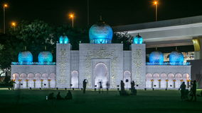 Newly opened Dubai Glow Garden day to night timelapse is a state of Art architecture featuring environment friendly. White mosque. Newly opened Dubai Glow Garden stock video footage