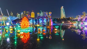 Newly opened Dubai Glow Garden timelapse is a state of Art architecture featuring environment friendly architecture. Lake with flowers and castle. Newly opened stock footage