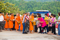 Newly ordained  Buddhist. CHIANG MAI, THAILAND - MAY 14 :Newly ordained Group Buddhist monk has a ritual in the temple procession in Thailand on MAY 14, 2012 Royalty Free Stock Photos